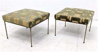 Pr Vintage Paul McCobb Style Upholstered Stools Ottoman