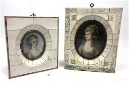 Two Miniature Portrait Paintings. In decorated frames.