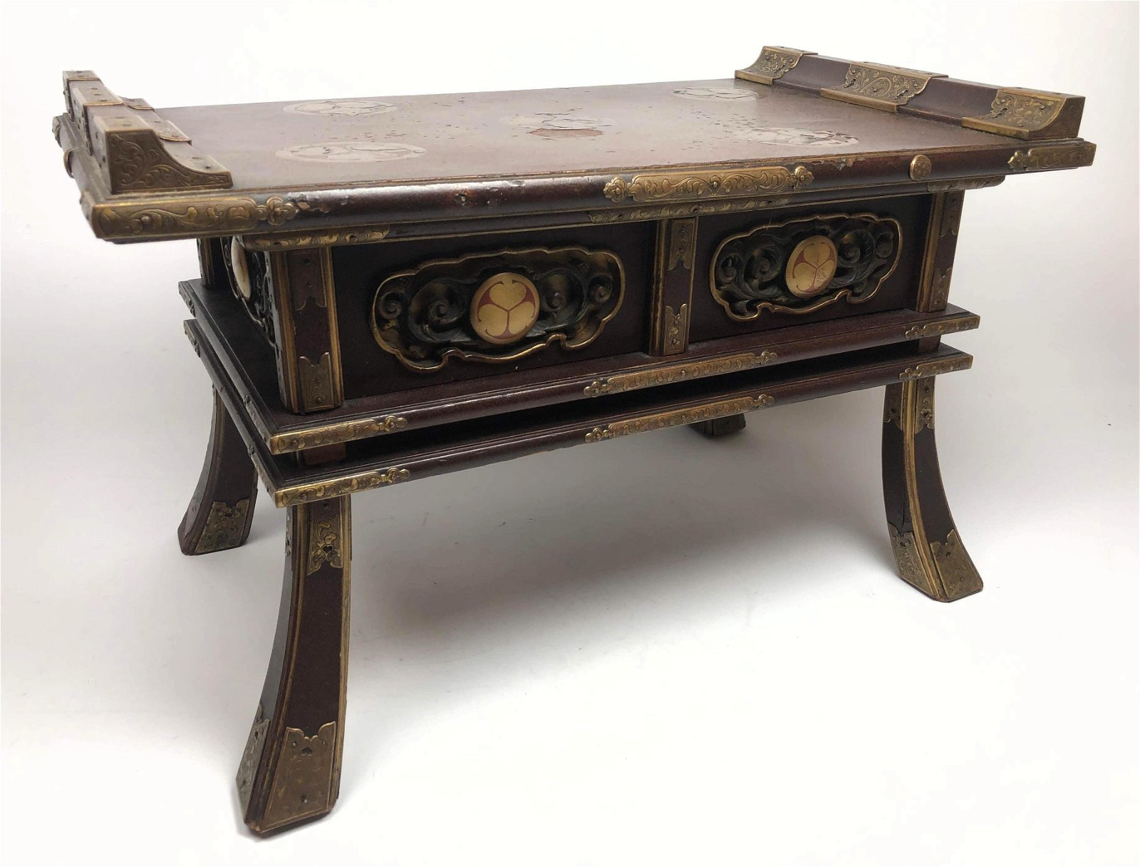 Japanese Lacquer Decorated Buddhist Altar Table. Ornate