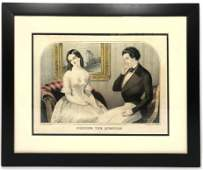 Colored Lithograph of 1800s  Couple Titled Popping t