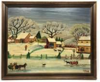GRANDPA ISADOR SOMMER Folk Art Oil Scene of Winter Farm