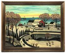 GRANDPA ISADOR SOMMER Folk Art Oil Painting of Seaside