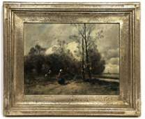 GROTH Dutch Countryside Scene Oil Painting. Farmers amo