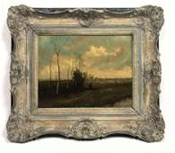 Oil on Canvas of Dutch Countryside Scene. Signed illegi