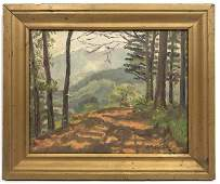 A. E. ALLEN Oil Painting of Forest Path Facing Mountain