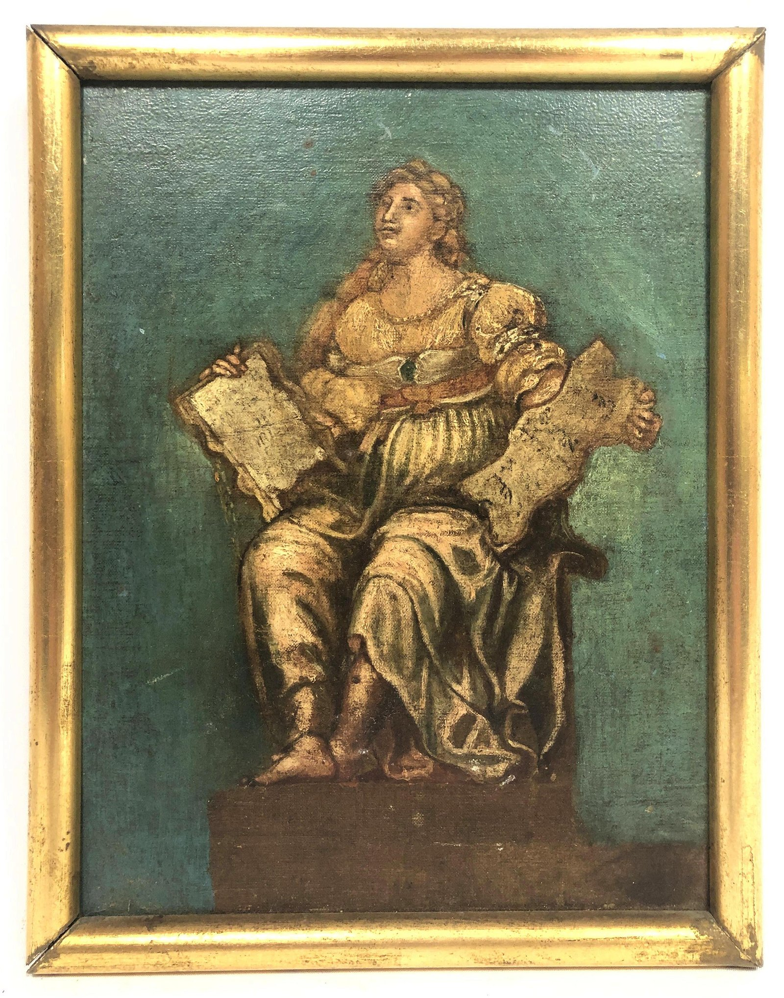 Antique Oil painting of Seated Roman Woman Holding Text