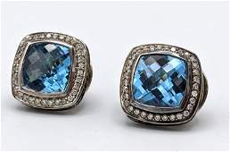 DAVID YURMAN Sterling Silver Blue Topaz Earrings. Facet
