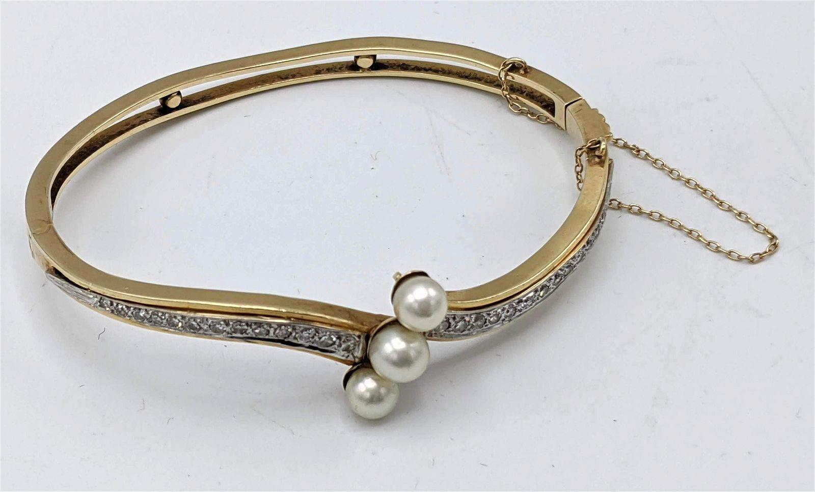 14k Gold Pearl and Diamond Hinged Bangle Bracelet. Yell