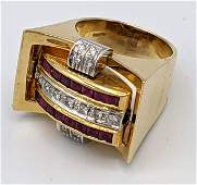 18k Gold Reversible Sapphire Ruby Diamond Ring Ring