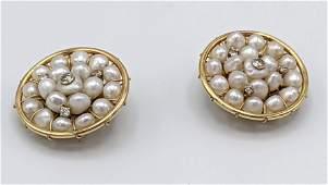 Pr 14k Gold Pearl Diamond Clip Earrings Round yellow g