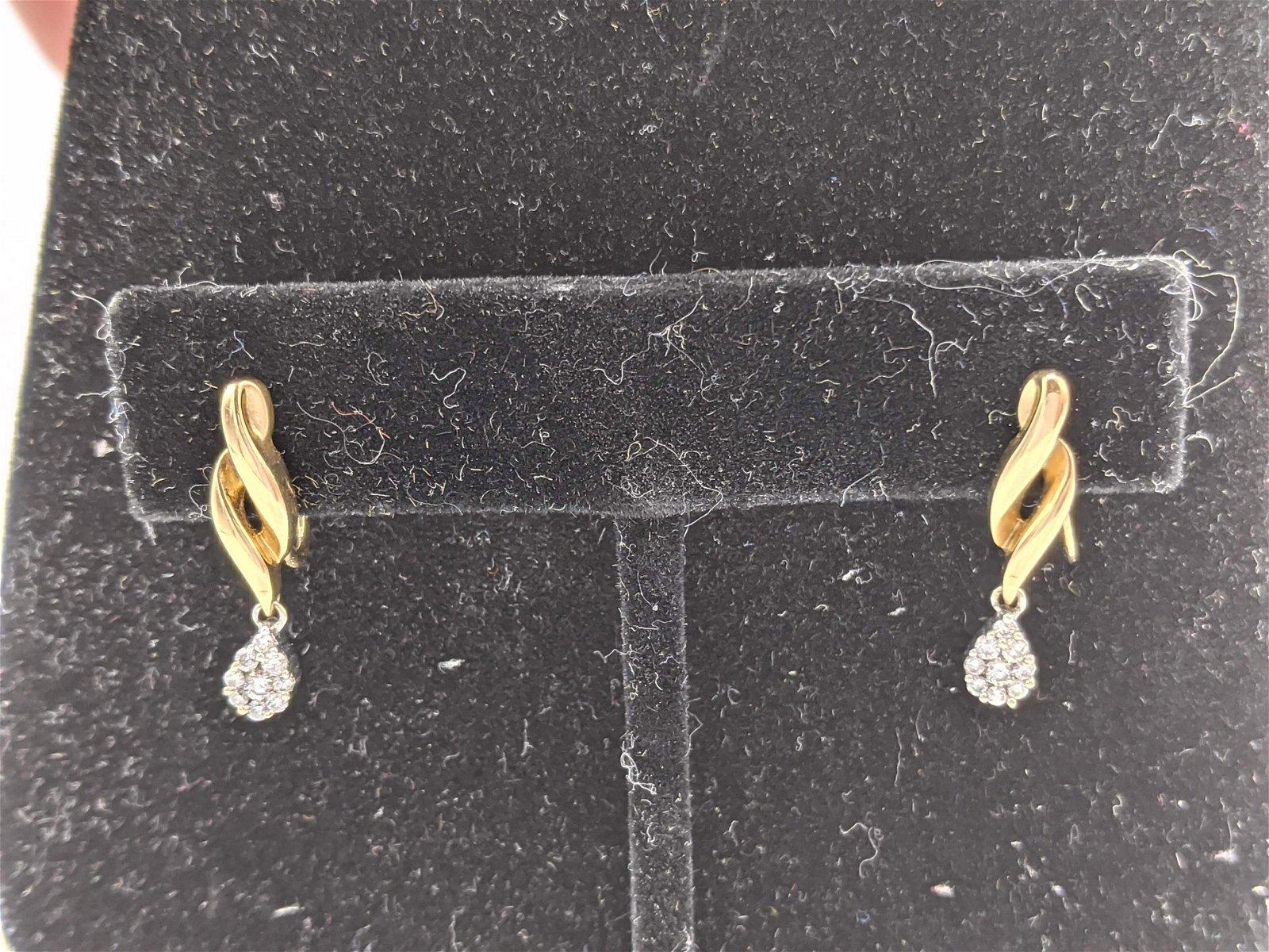Pr 14k Gold Diamond Drop Screw Back Earrings. Yellow go