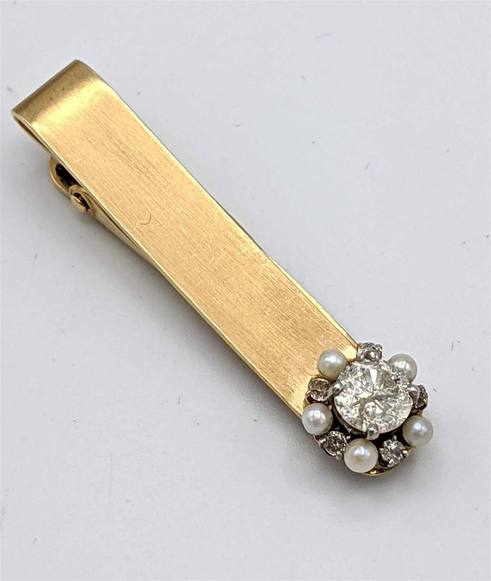 14k Gold Diamond Vintage Tie Bar Clip.  Approx .5 carat