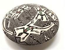 Handmade R. LUCARO Pottery Seed Pot. ACOMA Pueblo, NM.