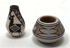 2pc Native American Indian Pottery Mini Vases. 1) LUCY