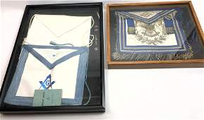 2pc Frame MASONIC Sashes Etc 1 White satin sash with