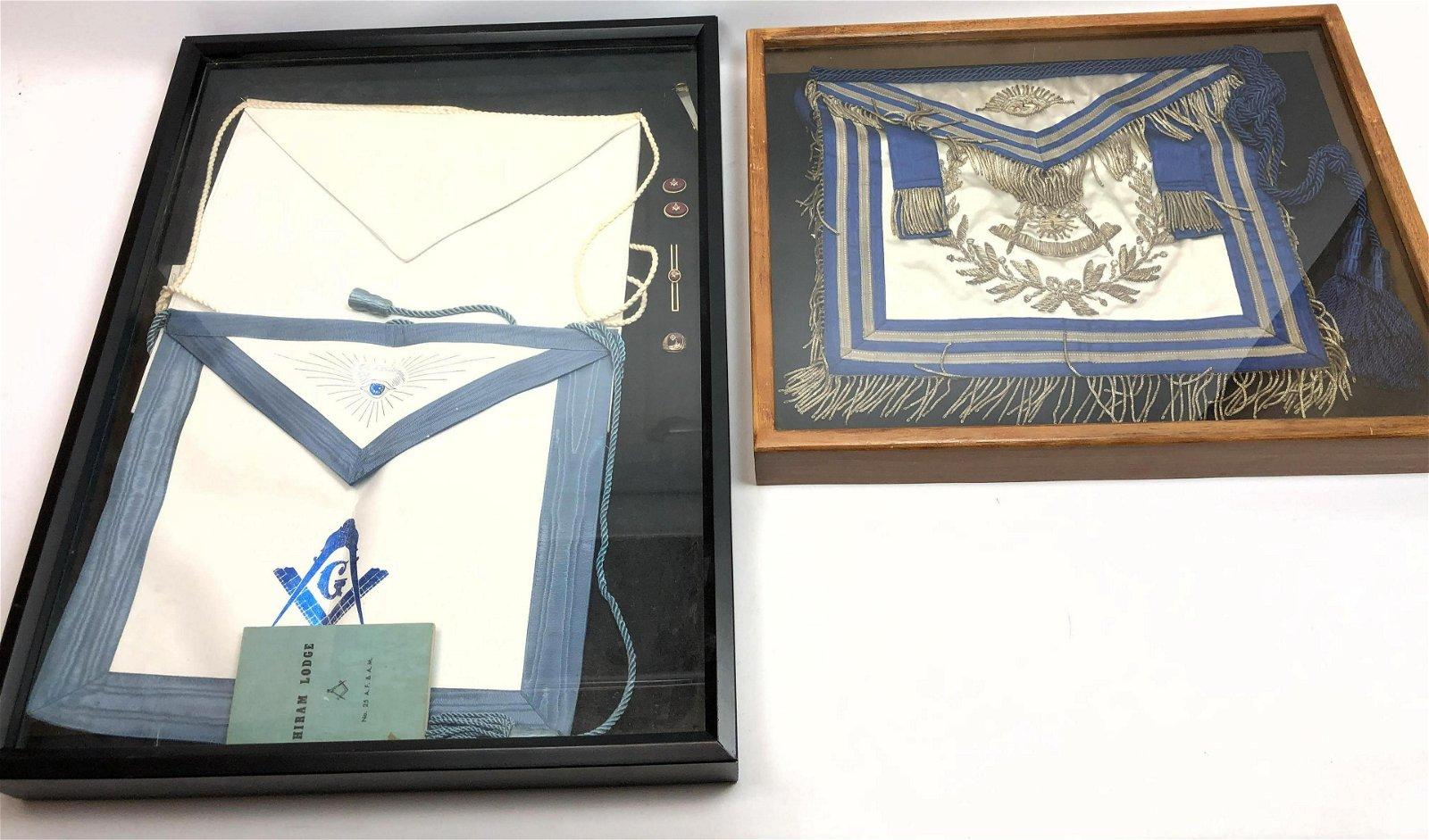 2pc Frame MASONIC Sashes Etc. 1) White satin sash with