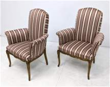 Vintage Upholstered Fireside Chairs. French Style. Gold