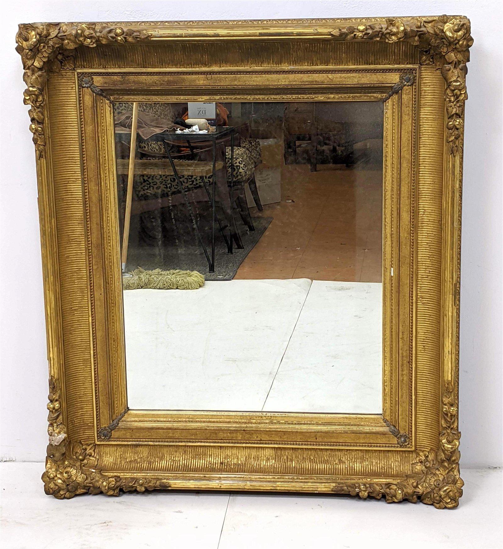 "Large Antique Wood Framed Mirror. Thick 8"" frame. Gold"