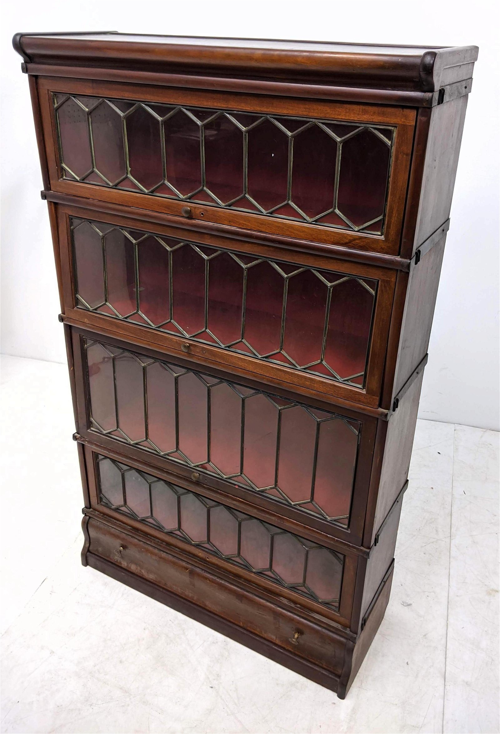 Arts and Crafts Leaded Glass Stacking Bookcase. Walnut