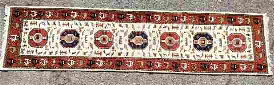 104 x 26 Handmade Oriental Runner Carpet Rug  Tan wi