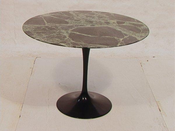 2: EERO SAARINEN Knoll Green Marble Tulip Table. Black