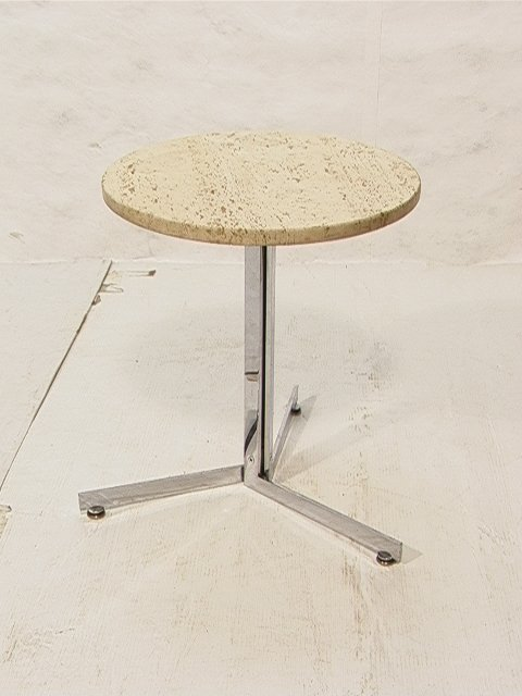 5: Travertine and Chrome Table Kjakholm Style. 17.5in R