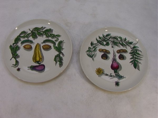 9: 2pcs Piero Fornasetti Plates.  Vegetable Faces. Labe