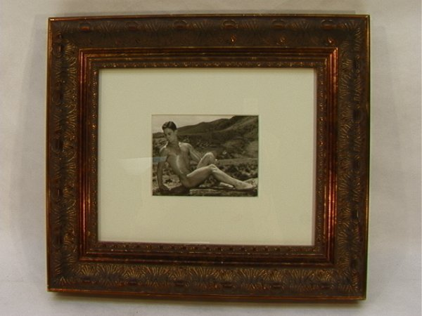 17: Vintage Male Pin Up Photograph. Beefcake Nude.  Sea