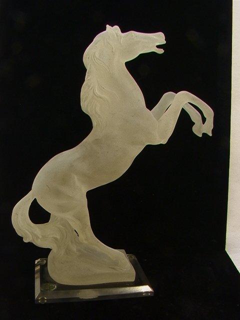 24: Monique Lucite Rearing Horse Sculpture. Metal Tag.