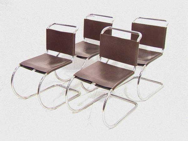 54: 4 Marcel BREUER for Knoll Tubular MR Chairs.  Leath
