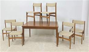VEJLE STOLE Danish Modern Dining Set. Refractory Table