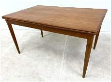 Danish Modern Teak Refractory Dining Table. Banded Edge