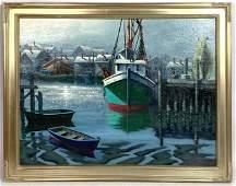 BEN PAULEKAS Oil Painting on Board. LOW TIDE, EVENING.