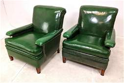 Pair Forest Green Vinyl Club Lounge Chairs. Nice form.