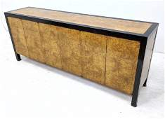 Milo Baughman Style Burl Credenza Sideboard w Ebonized