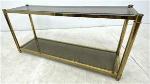 80's Modern Brass and Glass Console Hall Table.