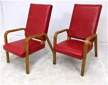 Pair Red Vinyl Thonet Bent Wood Arm Lounge Chairs  Tal