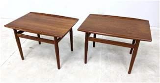 Pair Grete Jalk Side Tables. Danish Modern Teak.