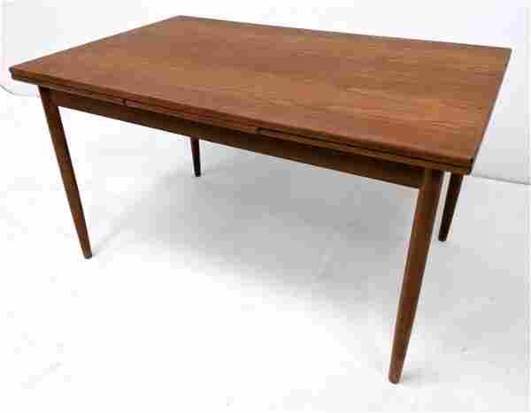 Danish Modern Teak Refractory Dining Table. Two 17.75 i