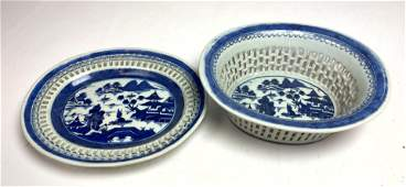 Chinese Blue Decorated Oval Bowl and Under Tray. Pierc