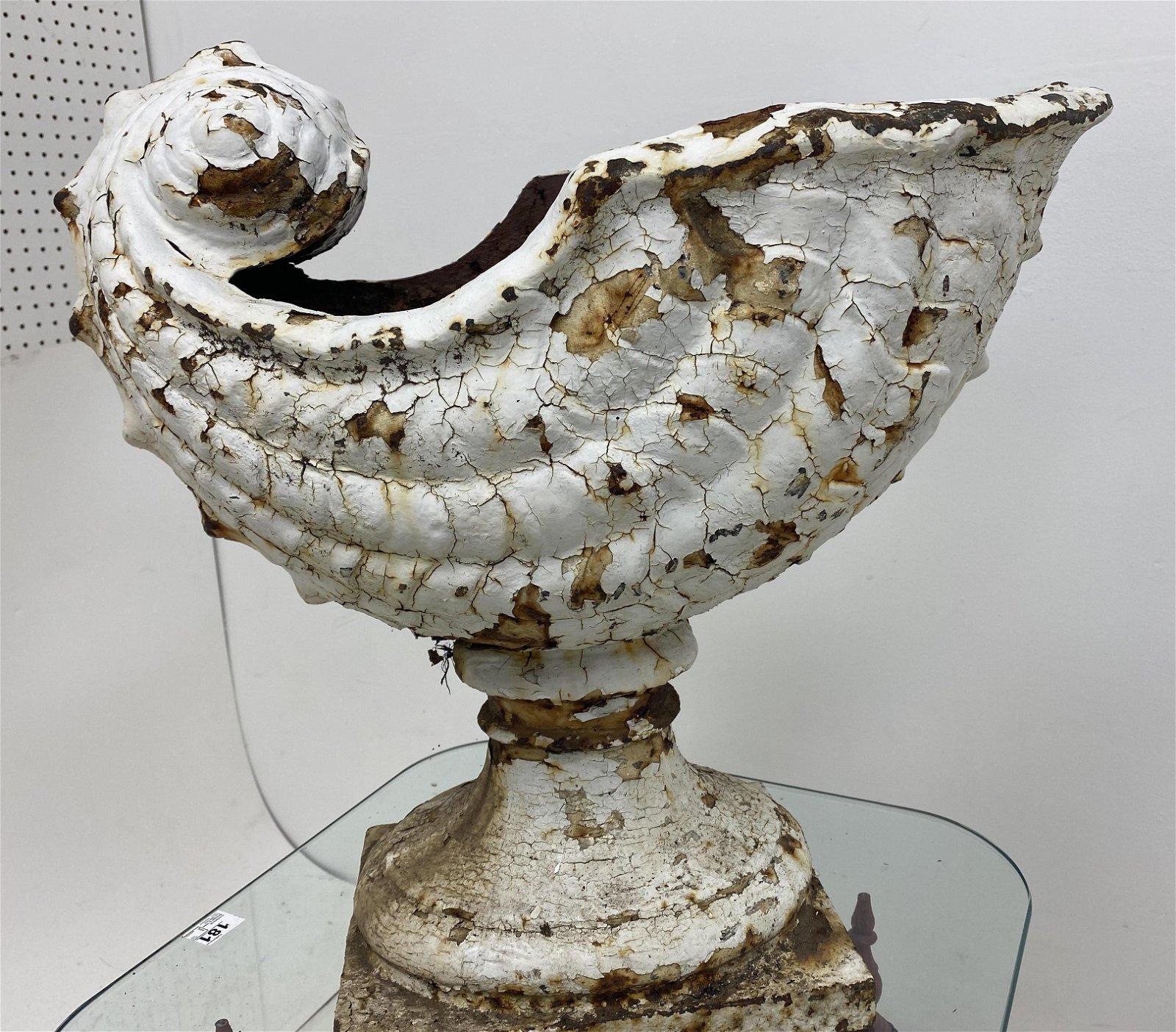 Rare Stunning Cast Iron Nautalis Shell Urn Planter. Ant