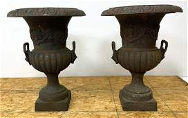 Pair Cast Iron Outdoor Garden Urn Planters with Lion He