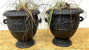 Pair Handled Cast Iron Outdoor Garden Urns Planters.
