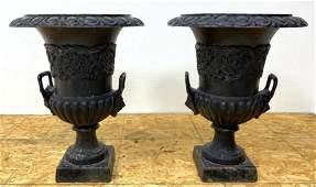 Pair Cast Iron Handled Outdoor Garden Urn Planters.