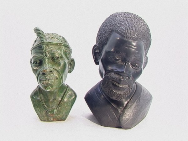 511: 2 pc lot African Carved Stone Busts Sculptures. On