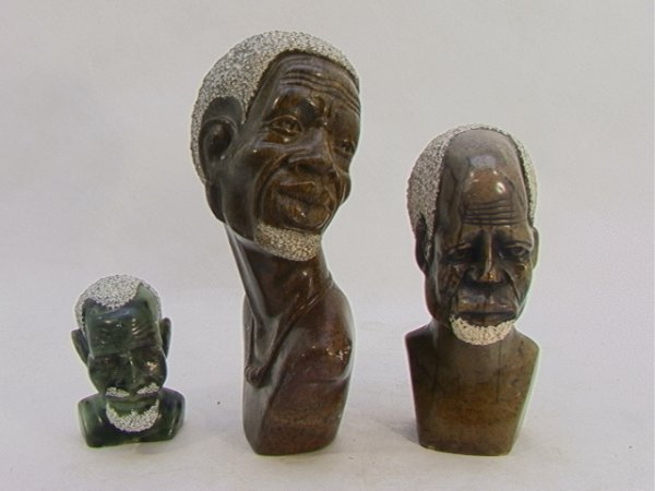 513: 3 pc lot African Stone Carved Sculpture Busts.  3