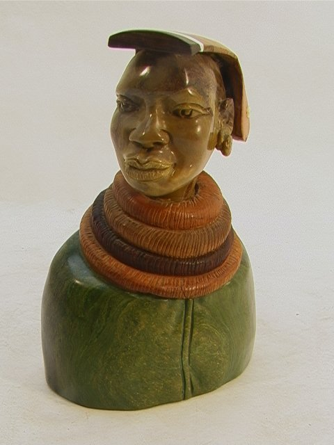 517: PAULUS KGAILE Carved African Bust Sculpture. Carve
