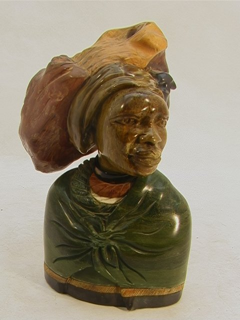 518: PAULUS KGAILE Carved African Bust Sculpture. Carve