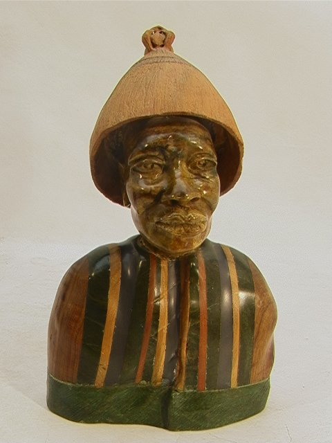519: PAULUS KGAILE Carved African Bust Sculpture. Carve