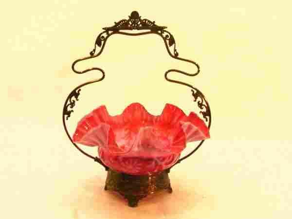 727: VICTORIAN BRIDES BASKET S/P Cranberry Glass. Silve